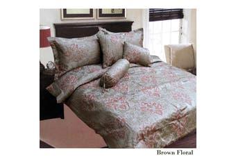 6 Pieces Jacquard Comforter Set Queen Size Brown Floral