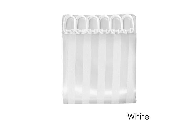 Jacquard Stripe Shower Curtain White