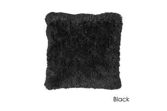 Long Hair Faux Fur Euro Cushion 60 x 60 cm Black