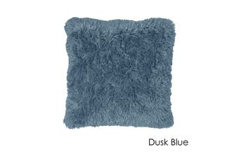Long Hair Faux Fur Euro Cushion 60 x 60 cm Dusk Blue