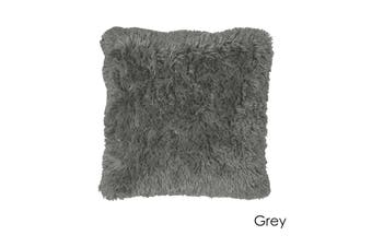 Long Hair Faux Fur Euro Cushion 60 x 60 cm Grey