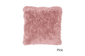 Long Hair Faux Fur Euro Cushion 60 x 60 cm Pink