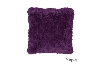 Long Hair Faux Fur Euro Cushion 60 x 60 cm Purple