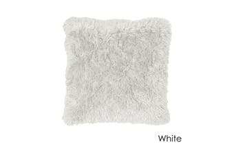 Long Hair Faux Fur Euro Cushion 60 x 60 cm White
