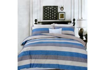 250TC Cotton Reversible Quilt Cover Set Beachy Stripes Queen