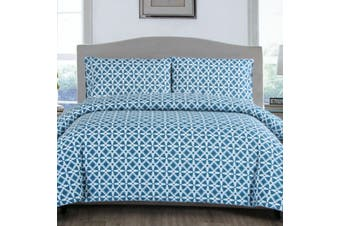 Steel Blue Leaves Quilt Cover Set Single