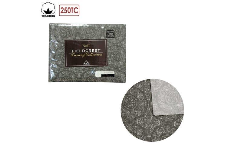 Cotton Reversible Mandala Charcoal Quilt Cover Set Queen