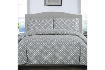 Grey Stars Quilt Cover Set Single