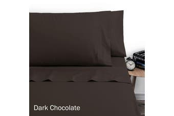 250TC Polyester Cotton Sheet Set Single Dark Chocolate by Artex