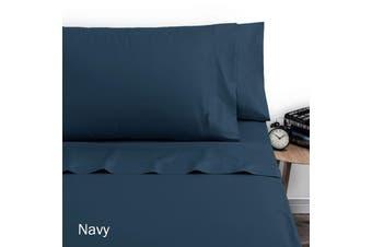 250TC Polyester Cotton Sheet Set Double Navy by Artex