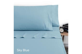 250TC Polyester Cotton Sheet Set Double Sky Blue by Artex