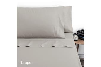 250TC Polyester Cotton Sheet Set Double Taupe by Artex