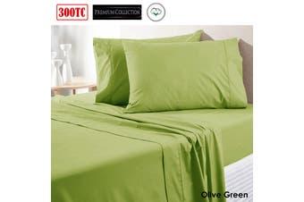 300TC Pure Cotton Sheet Set Queen Aloe Green