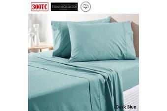 300TC Pure Cotton Sheet Set Queen Dusk Blue