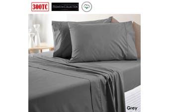 300TC Pure Cotton Sheet Set Queen Grey