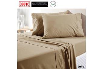 300TC Pure Cotton Sheet Set Queen Latte