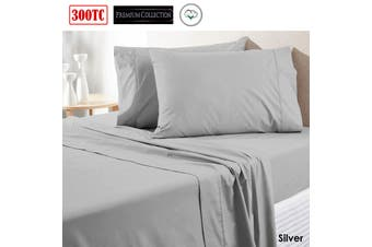 300TC Pure Cotton Sheet Set Queen Silver