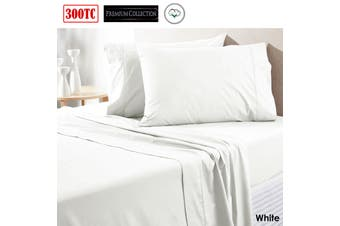 300TC Pure Cotton Sheet Set Queen White