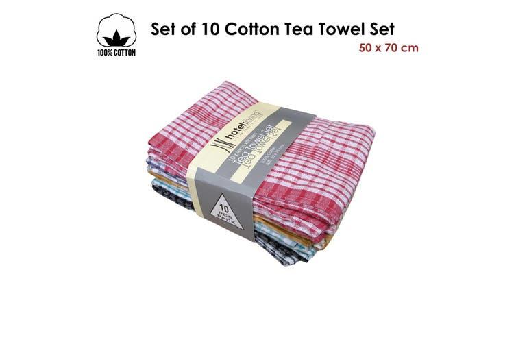 Set of 10 Cotton Tea Towel Set by Hotel Living