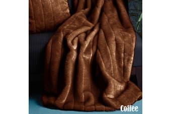 Artex Channel Faux Fur Throw Rug Coffee