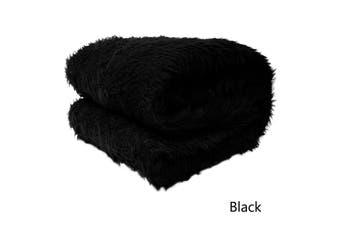 Short Faux Lamb Fur Throw Rug Black by Artex