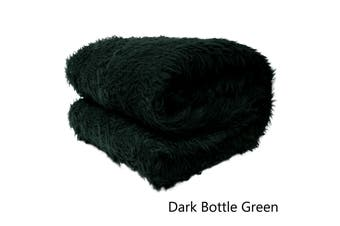 Short Faux Lamb Fur Throw Rug Dark Bottle Green by Artex