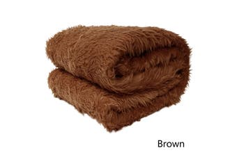 Short Faux Lamb Fur Throw Rug Brown by Artex