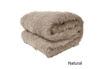 Short Faux Lamb Fur Throw Rug Natural by Artex