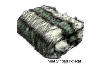 Luxury Long Hair Faux Fur Animal Throw Mint Striped Polecat by Artex