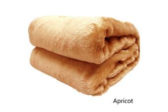 Short Pile Faux Fur Throw Rug Apricot by Artex