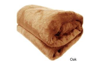 Short Pile Faux Fur Throw Rug Oak by Artex