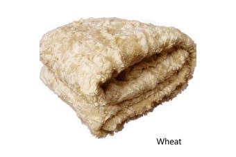 Short Pile Faux Fur Throw Rug Wheat by Artex