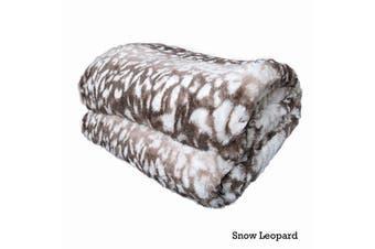 Faux Fur Soft Animal Throw Rug Snow Leopard