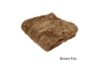 Solid Colour Luxury Faux Fur Animal Throw Brown Fox by Artex