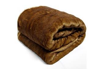 Super Soft Faux Fur Throw 127x152 cm Brown Weasel
