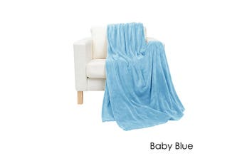 Coral Fleece Extra Large Throw Rug Baby Blue