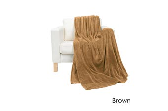 Coral Fleece Extra Large Throw Rug Brown