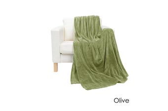 Coral Fleece Extra Large Throw Rug Olive