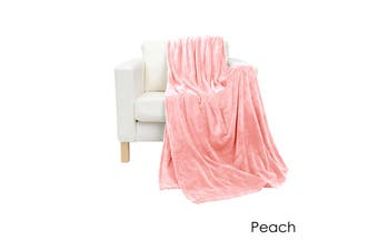 Coral Fleece Extra Large Throw Rug Peach