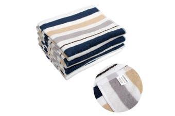 Set of 4 Aussino Cotton Navy Stripe Bath Towels