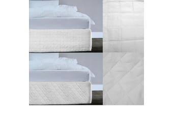 Random Pattern Quilted Valance White Queen