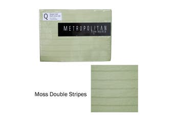 Moss Double Stripes Quilt Cover Set Queen by Metropolitan