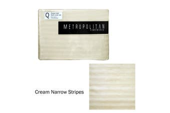 Cream Stripes Quilt Cover Set Queen by Metropolitan