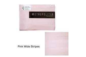 Pink Stripes Quilt Cover Set Queen by Metropolitan