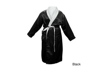 Satin Plush Robe Black S/M by Bambury