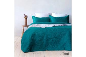 Botanica Embossed Teal Coverlet Set Queen/King by Bambury