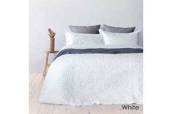 Botanica Embossed White Coverlet Set Queen/King by Bambury