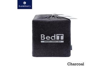 Bed T Jersey Knit Sheet Set Charcoal King Single