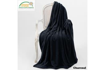 Microplush Throw Rug Charcoal by Bambury