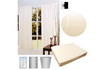 Pair of Cream Blockout Pinch Pleat Curtains to Fit Window 90 x 213cm